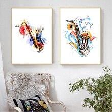Saxo arte impresión acuarela abstracto Vintage saxofón póster música pared arte lienzo pintura música regalo hogar habitación pared Decoración