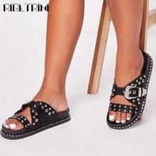 RIBETRINI Ins Big Size Female Open Toe Causal Platform Shoes Summer Rivet Women Slippers Casual