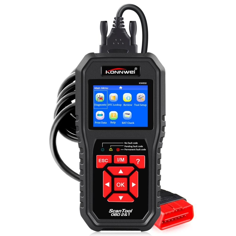KONNWEI KW850 черный автоматический диагностический сканер OBD2 сканер автомобильный диагностический инструмент БД код считыватель лучше, чем Зап...