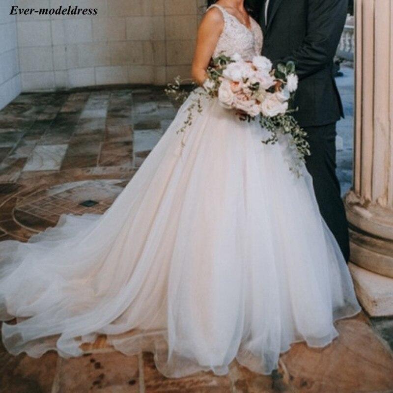 2020 Wedding Dresses Lace Beaded A-Line V-Neck Open Back Sweep Train Elegant Bridal Gowns Bride Dress Vestido De Noiva