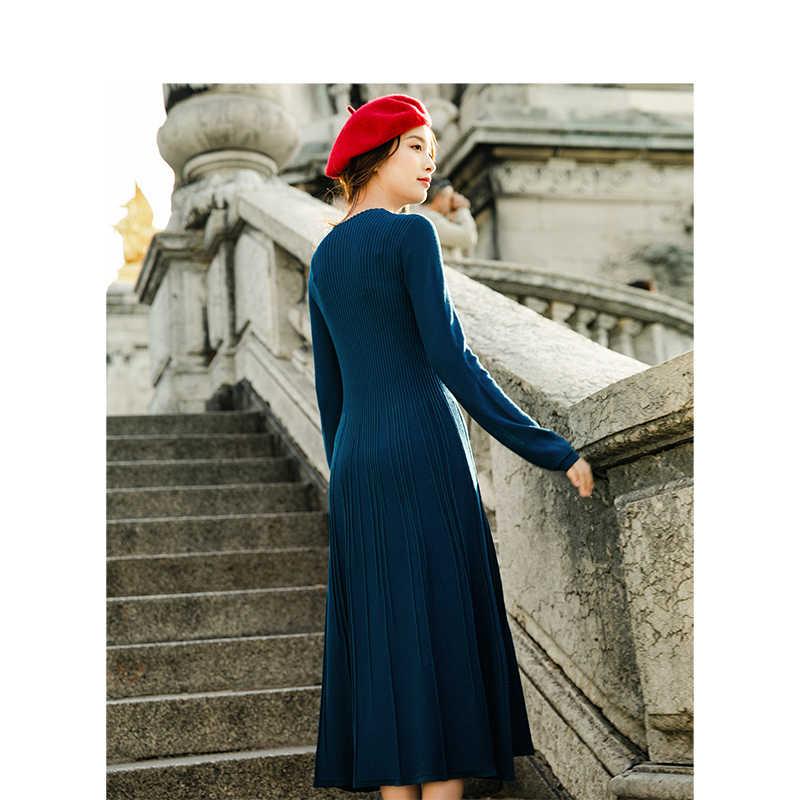 INMAN o-enck rétro Hongkong Style défini taille mince à manches longues Snit a-ligne femmes robe longue