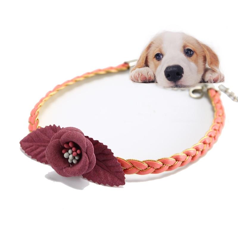 Spring Handmade Pet Supplies Flower Weaving Dog Cat Neck Ring Collar Hand Knitted Pet Decorations