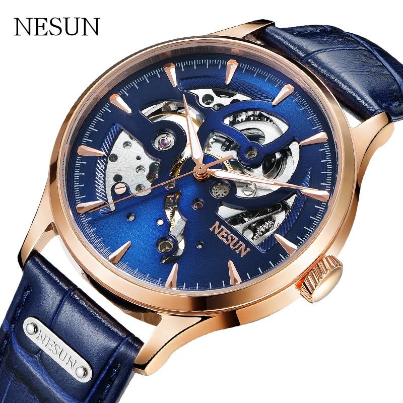 NESUN Mens Watches Mechanical-Watch Automatic Self-Wind Luxury Brand Waterproof Relogio Masculino Genuine Leather Men Clock 2020