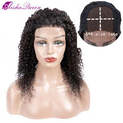 Aisha queen 4*4 человеческие волосы парики Кудрявые кудрявые парик бразильские кружева Закрытие человеческих волос парики предварительно