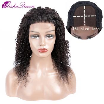 Aisha Queen 4*4 peruki z ludzkich włosów peruka z kręconych włosów typu kinky brazylijski zamknięcie koronki peruki z ludzkich włosów wstępnie oskubane nie remy koronkowe peruki tanie i dobre opinie Perwersyjne kręcone Nie remy włosy Średnia wielkość Średni brąz Ciemniejszy kolor tylko Swiss koronki Brazylijski włosy