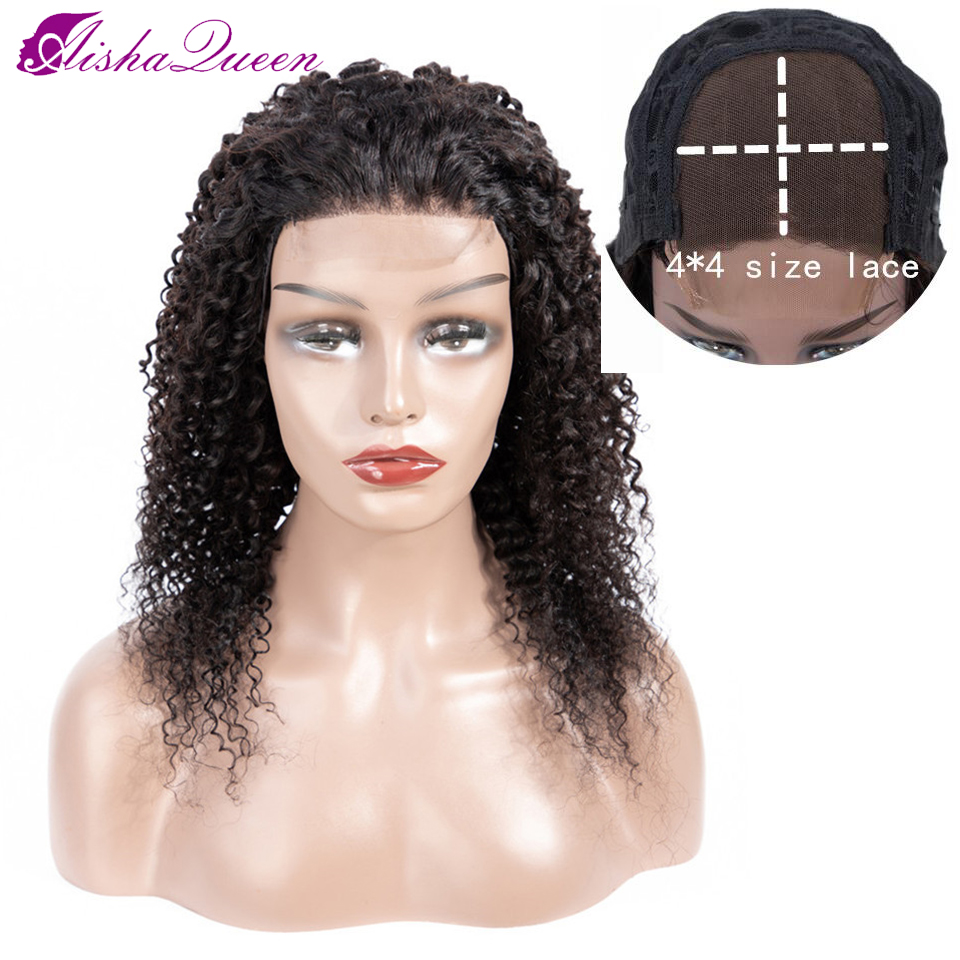 Aisha Queen 4*4 Human Hair Wigs Kinky Curly Wig Brazilian Lace Closure Human Hair Wigs Pre Plucked Non-remy Hair Lace Wigs