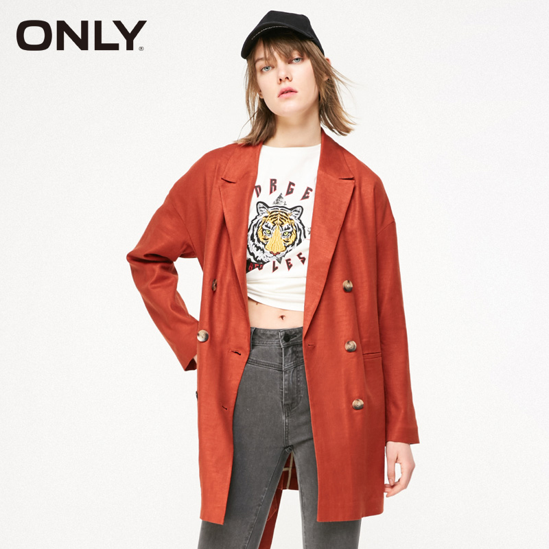 ONLY Women Spring New Style Medium Long Double Breasted Casual Blazer Coat | 119108536