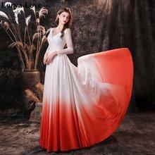 Женское длинное вечернее платье белое или оранжевое с v образным
