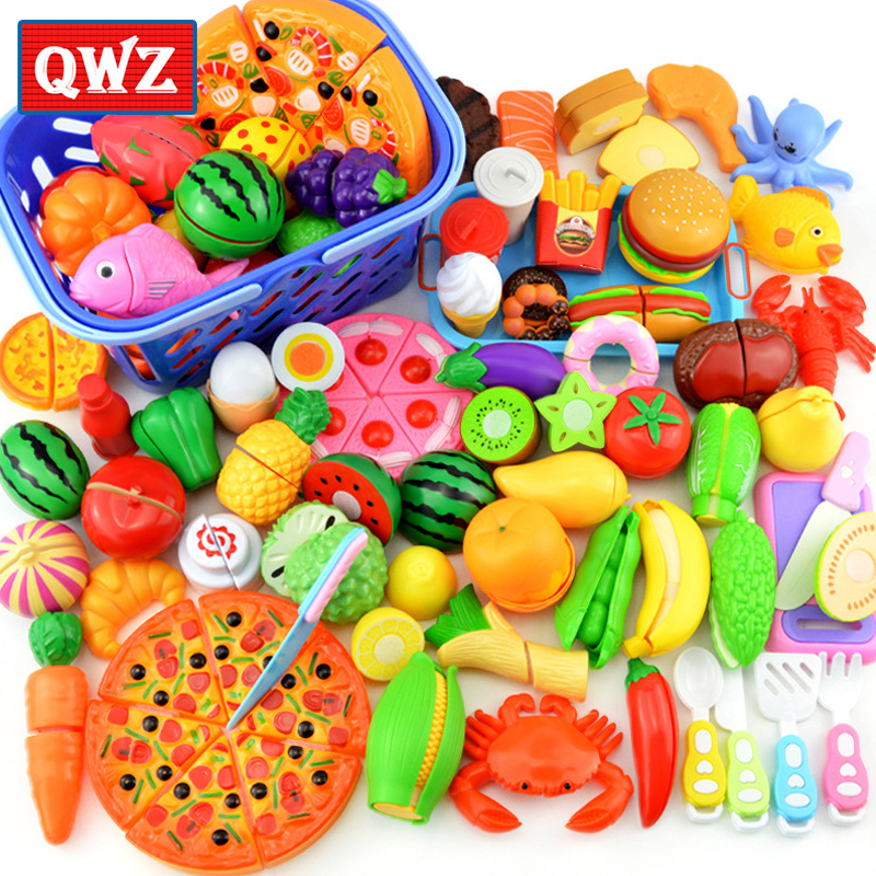 QWZ NEW Children Kitchen Pretend Play Toys Cutting Fruit Vegetable Food Miniature Play Do House Education Toy Gift For Girl Kids