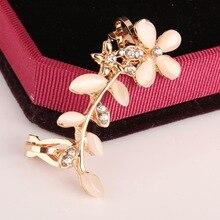 Petal-encrusted Ear Clip Bone Korean Version of Cats Eye Leaf Earrings Fashion Jewelry Factory Direct Earing