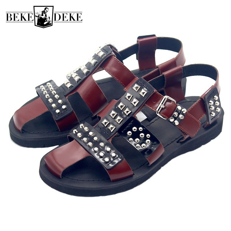 Runway Men Summer Gladiator Studded Sandals Handmade Rivets Cow Genuine Leather Sandals Flat Shoes Buckle Strap Sandals Big Size