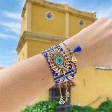 Go2boho MIYUKI bransoletka dla kobiet turecki szczęście Evil Eye bransoletki Pulseras Mujer 2020 Femme biżuteria kobieta Handmade krosna koraliki