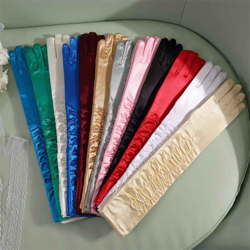 50cm Sexy Colorful Satin Long Finger Gloves Women Lady Gloves Drama Dance Show Party Supplies Fancy Dress Wear