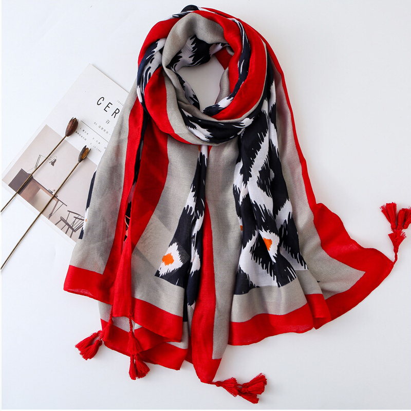 New Head Scarf Women Autumn Spring Fashion Style Hippie Bohemian Romantic Long Floral Print Scarves Soft Cotton Material