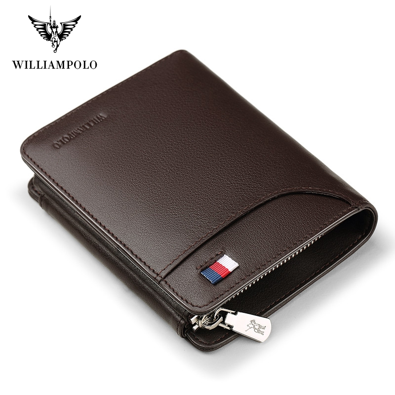 WILLIAMPOLO  Famous Brand Fashion 3 Bifold Short Wallet Genuine Leather Luxury Money Bag PL297