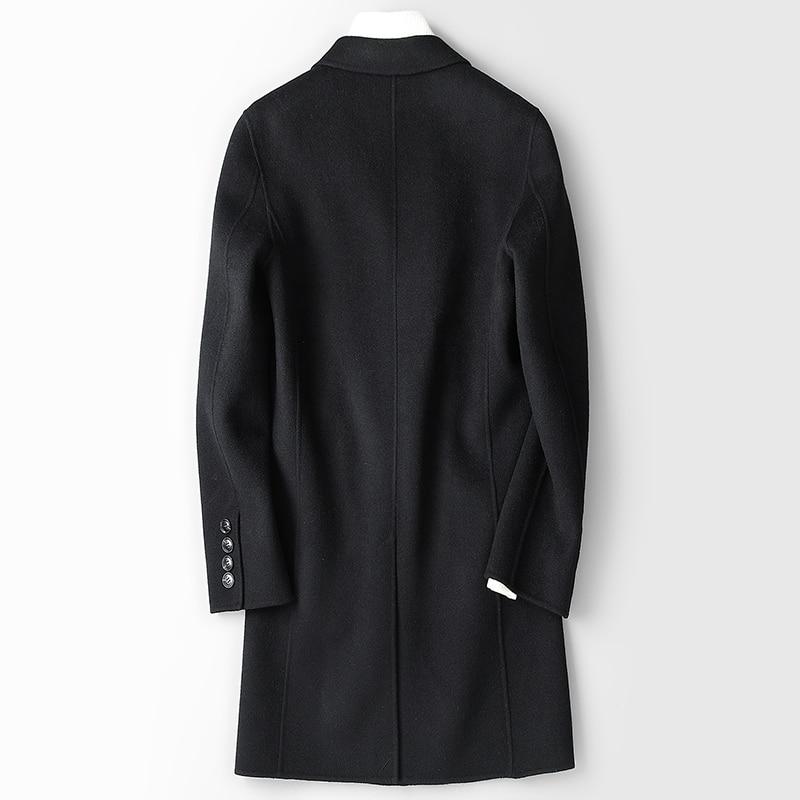 Double-sided 100%Wool Coat Men Spring Autumn Long Jacket Windbreaker Mens Coats And Jackets Abrigo Hombre 8812 KJ1550
