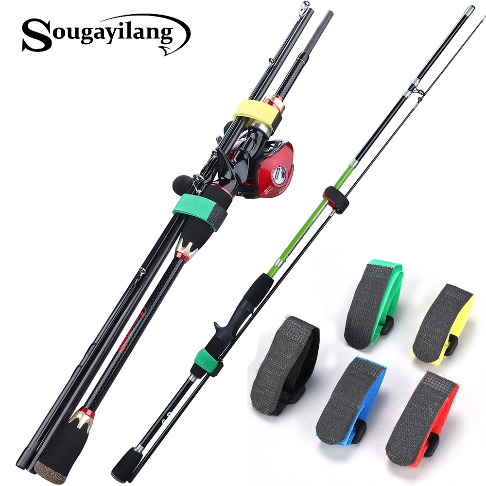 Sougayilang Holder Pole Fixing Tie Anti-slip Nylon Portable Magic Sticker Wrap Strap Reusable Fishing Rod Band Belt Adjustable