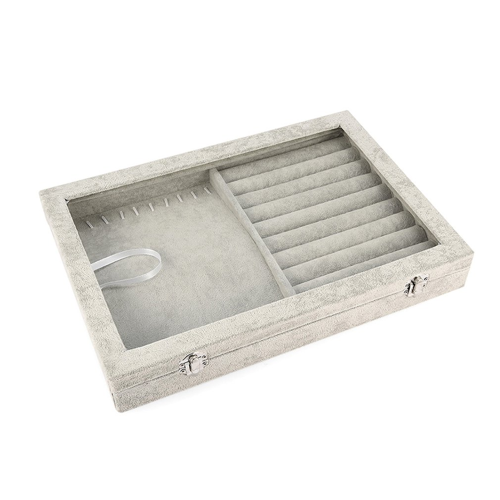 Display Ring Necklace Storage Box 2-in-1 Tray Showcase Ice Velvet Organizer With Transparent Acrylic Lid Jewelry