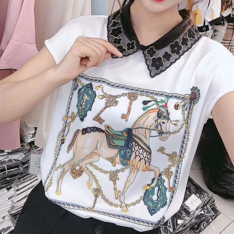 Women Spring Summer Style Chiffon Blouses Shirts Lady Casual Short Sleeve Peter Pan Collar Printed Chiffon Blusas Tops DD8837 8