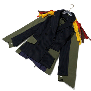 Image 3 - [EAM] גדול גודל פסים ניגודיות צבע דפוס הדפסת מעיל חדש דש סרט Loose Fit נשים מעיל אופנה האביב סתיו 2020 JZ521