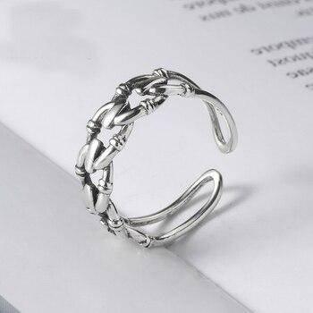 Joyas de plata de ley 925 Vintage para mujer, Anillos abiertos para Dedo de boda, Declaración de compromiso, anillo joyas para mujer