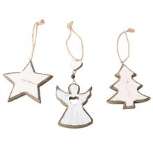 3Pcs/Set Angel Star Christmas Tree Wooden Hanging Ornament Holiday Party Decoration DIY Crafts