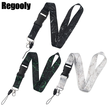 10pcs Marble texture Neck Strap Lanyards ID badge card holder keychain Mobile Phone Ribbon webbing necklace decorations - sale item Fashion Jewelry