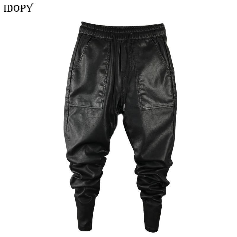 Idopy Men`s Winter Warm Faux Leather Harem Pants Elastic Waist Drawstring PU Joggings Trousers For Male
