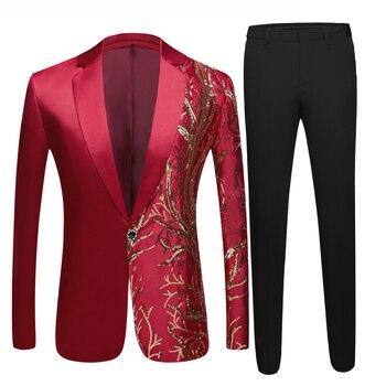 New men's wine red sequin suit suit wedding groom costume night club party dance singer Sequins Blazer  Costume Wedding Suits