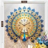3D Gold Diamant Pfau Wanduhr Metall Uhr Stille Digitale Uhr für Home Wohnzimmer Wand Dekoration Uhren Ornamente Geschenk