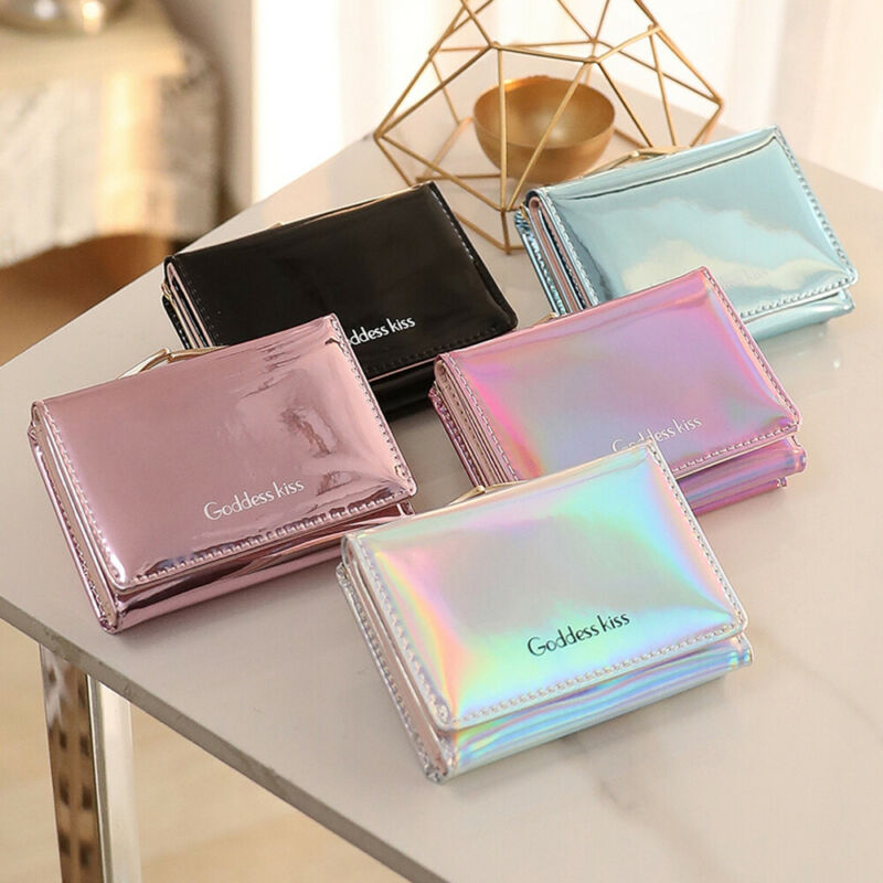 2019 Newest Hot Women Short Small Coin Purse Wallet Ladies Leather Folding Card Card Holder Laser Colorful Coin Purses