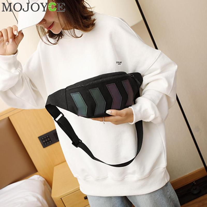 2019 Chest Bag For Men Waist Bag Canvas Fanny Pack Boy Street Reflective Crossbody Pack Casual Travel Bags Hip Hop Shoulder Pack
