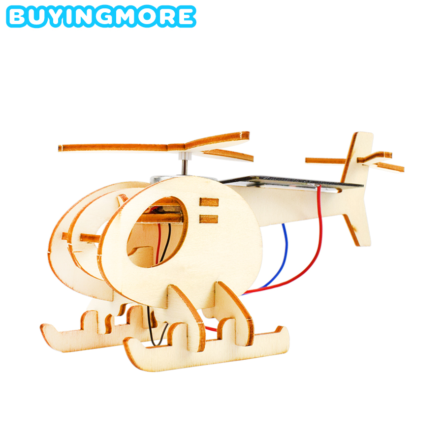 Solar Helicopter Model Kits Toys For Boys Inventions Science Physics Toy Handmade Aircraft DIY Kit Wood Model Educational Toys