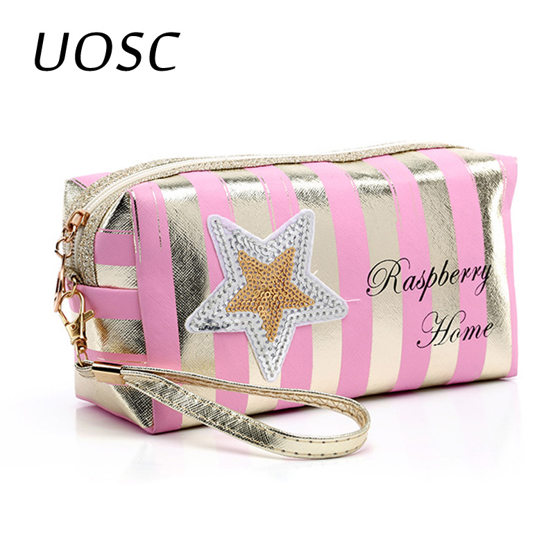 UOSC Fashion PU Leather Cosmetic Storage Bags 2019 New Women Laser Make Up Bag PVC Pouch Wash Toiletry Bag Travel Organizer Case