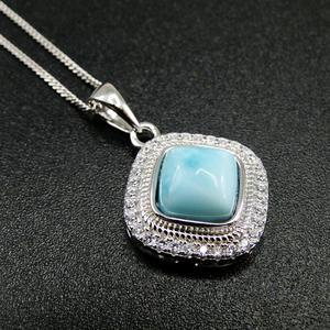 Image 2 - الأكثر مبيعاً قلادة جميلة من الفضة الإسترليني عيار 925 مجوهرات نسائية من دومينيكا لاريمار الطبيعية قلادة للهدايا
