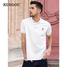 Kuegou camisa polo masculina de manga curta moda verão pique polos urso bordado topo branco ajuste fino plus size ZT-90014
