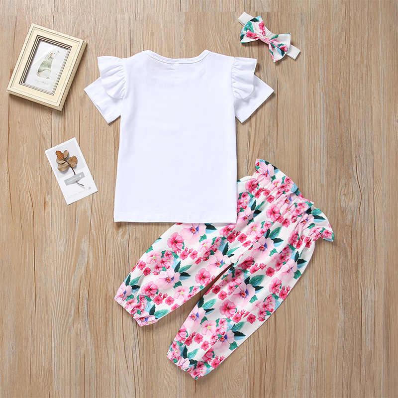 3 Pcs Sets Pasgeboren Baby Meisje Kleding 2019 Zomer Brief Mama Is Mijn Bestie T-shirts + Bloemen Broek + Hoofdband baby Baby Girl Outfits