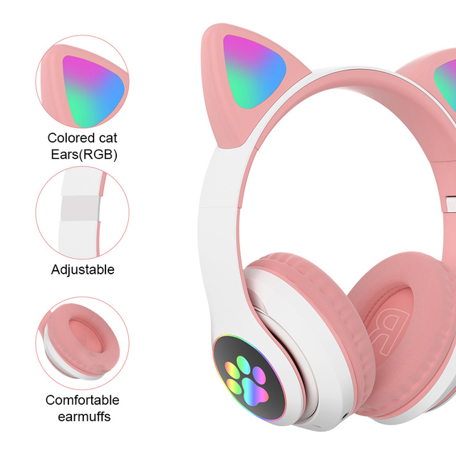 Cat Ear Headphones with Bluetooth 5.0