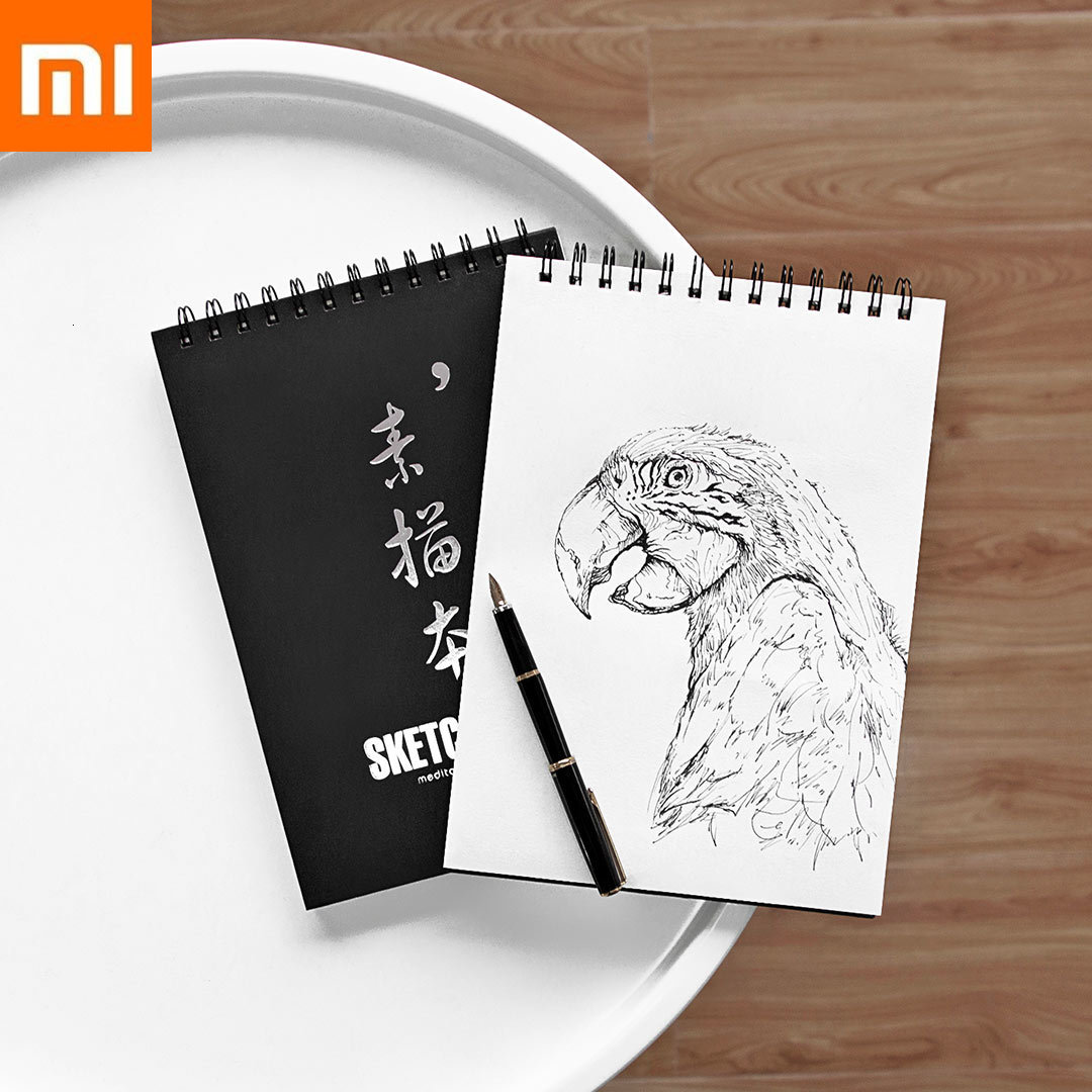 Xiaomi Sketchbook 110g <font><b>A4</b></font> Black White Double-Sided Wallpaper 360° Degree Page Turning Portable Belt Double-sided Drawing Paper image