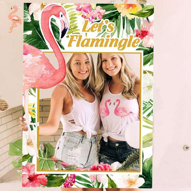Hawaiian Pink Flamingo Party Decor and Photo Booth Props