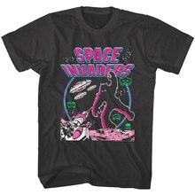 Los invasores espaciales Luna lucha de los hombres T camisa batalla alienígena Vintage juego de Arcade Top Pop adolescente camiseta