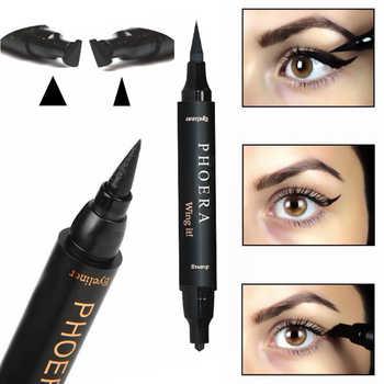 PHOERA Eye Liner Lasting Antifouling Waterproof Eyeliner 2 In 1 Quick Dry Waterproof Double Liquid Eyeliner Makeup Pen Stamps