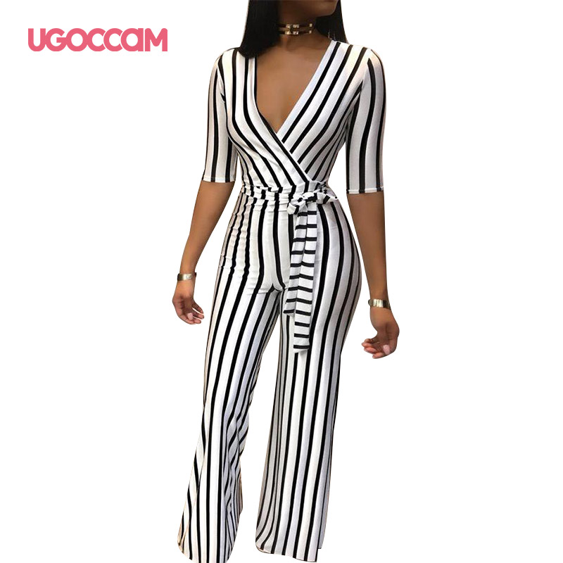 UGOCCAM Long Sleeve Jumpsuits Autumn V Neck High Waist Women Office Ladies Elegant Workwear Stripe Belted Long Pants Jumpsuits