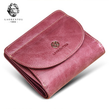 LAORENTOU Fashion Zipper Purse Lady Coin Pocket Card Holder for Woman Wallets Female Cowhide Leather Standard Wallets Money Bag
