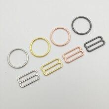 Il trasporto libero 200 pz/lotto Argento/Oro/oro Rosa/nero della Pistola reggiseno anelli e cursori