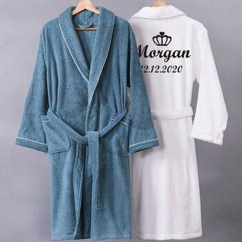 Customize Nama Date Women Men Warm Dobby Cotton Bathrobe Thermal Kimono Dressing Gown Bride Peignoir - discount item  35% OFF Women's Sleep & Lounge