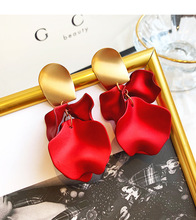 Vintage Rose Flower Petals Red Exaggerated Big Drop Dangle Earrings Jewelry 2019 for Women