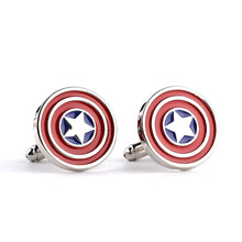 10pairs/lot Superheroes Jewelry The Avengers Captain America Shield Cufflinks Mens Shirt Wedding Cuff Buttons Gifts