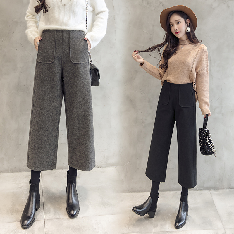 women wool   wide     leg     pant   2019 autumn winter fashion high waist thick warm loose woolen   pants   casual harem trousers office lady