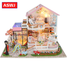 DIY Doll House Assembly Building Model Toy Houses Sweet Words Light Music Wooden Dollhouse Birthday Christmas Gifts Crafts